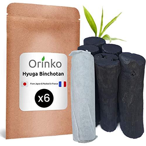 orinko BINCHOTAN Japonais de Hyuga X6 (150G, 25G x 6) | Authentique Charbon Actif Binchotan Traditionnel du Japon (Miyazaki Pref.) pour Purification d'eau en Carafe…