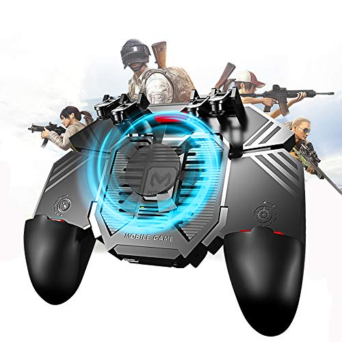Newseego Mobile Game Controller, [Upgrade] 6 Finger Trigger Phone Controller Gamepad with Cooling Gamepad for Shooter Sensitive Aim Trigger for Android & iOS for Knives Out/Rules of Survival