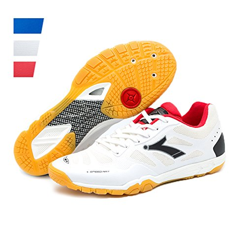 HUMGFENG Table Tennis Non-Slip Breathable Wearable Professional Training Sports Shoes for Men WH43 White
