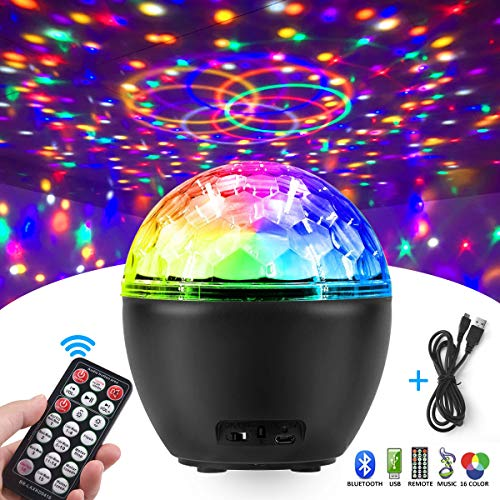 Discokugel, FOCHEA LED Discokugel Kinder Partylicht/LED Projektor Lampe Beleuchtung/Musik Lichteffekte mit Fernbedienung und USB-Kabel für Halloween Xmas Kinder Party Bar Club Dekoration