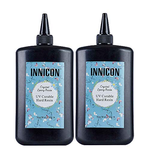 INNICON 250gX2 UV Crystal Epoxy Resin Clear No Mixing UV Glue Quick CuringFor DIY Handmade Jewelry Craft Pendants Charms Necklaces Earrings Making