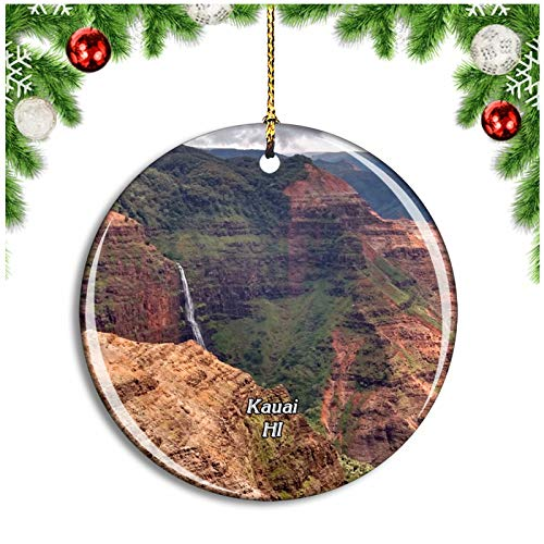 Weekino Kauai Waimea Canyon State Park Hawaii USA Christmas Ornament Xmas Tree Decoration Hanging Pendant Travel Souvenir Collection Double Sided Porcelain 2.85 Inch