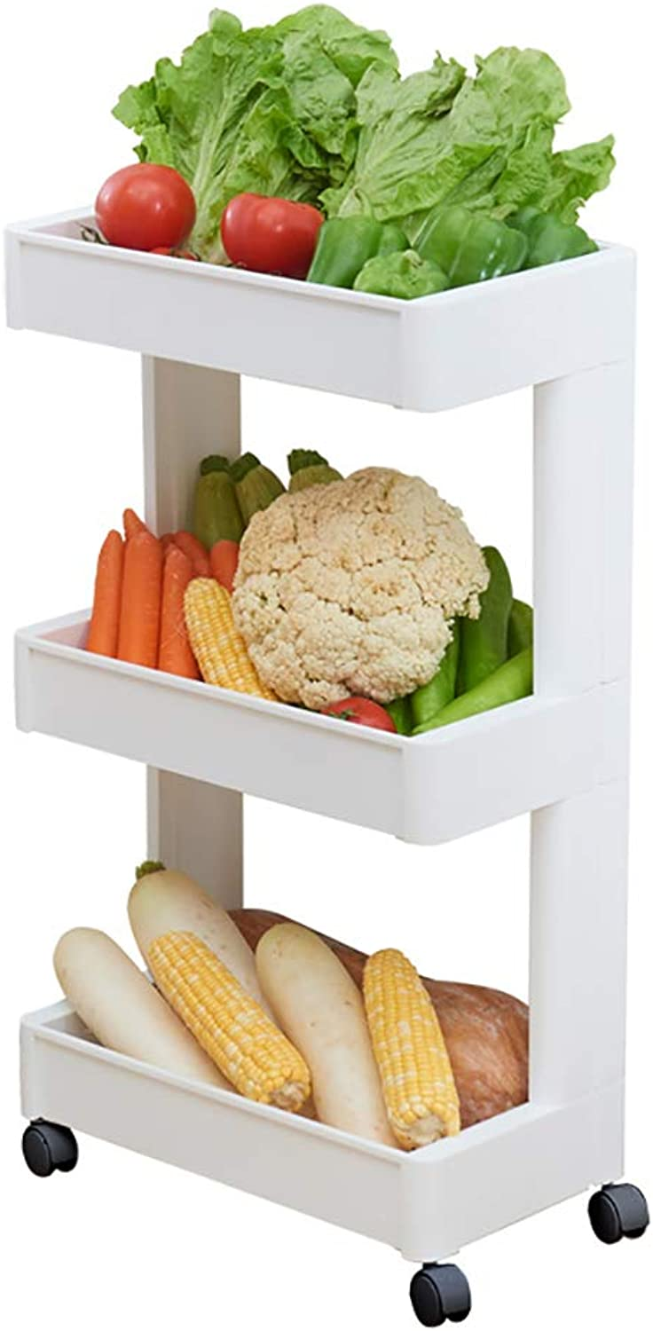 3 4 Tier Kitchen Storage Trolley with Wheels Plastic Fruit Vegetable Rack for Bathroom Multifunction Organizing (Size   45  26.5  79CM)
