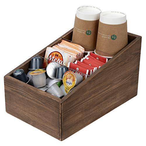 Halcent Coffee Condiment Organizer Tea Holder, Wood Tea & Coffee Storage Caddy Organizer Box for Countertop Coffee Bar Accessories (brown)