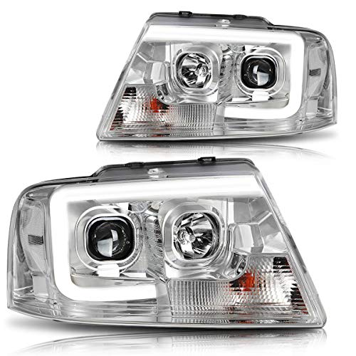 3D LED DRL Projector Headlight Assmbly Compatible with Ford F-150/ Mark LT 04-08 Headlamps Chrome Housing Clear Corner