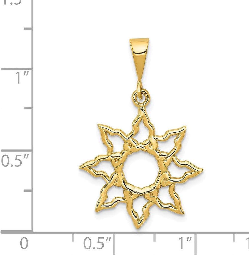Solid 14k Yellow Gold Sun Charm Pendant - 26mm x 19mm