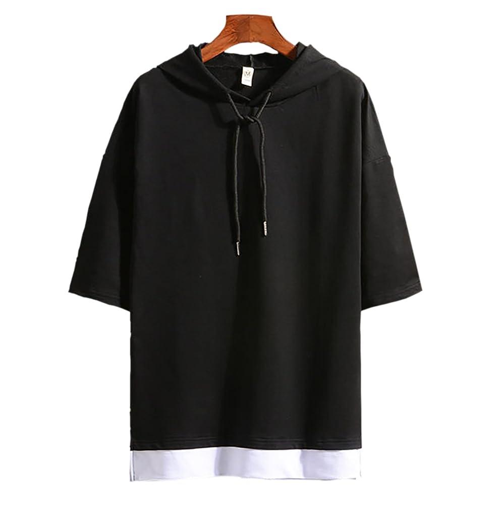 未亡人高架ブラシ(Make 2 Be) メンズ 7分袖 Tシャツ フード付き ゆったり ドロップショルダー レイヤード カジュアル シャツ プルオーバー MF74
