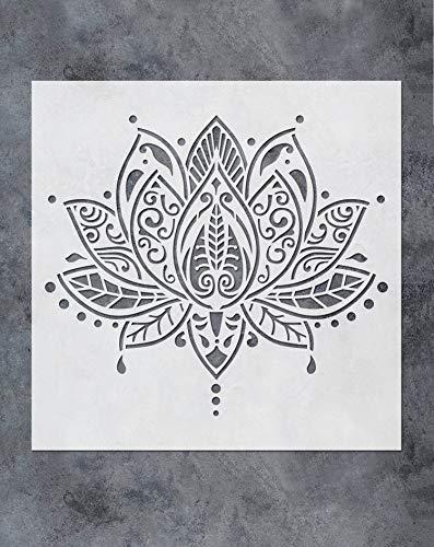 GSS Designs Lotus Flower Mandala Wall Stencil Template (12x12 Inch) - Yoga Studio Boho Bedroom Decor, Painting Stencils for Wood Wall Furniture Floor Tiles Fabric(SL-062)