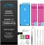 Batería para iPhone 6 de Alta Capacidad 2200mAh, 22% de Potencia Adicional y con Kits de Herramientas de Reparación, más 2 * Cintas Adhesiva 1 * Adhesivo de Pantalla e Manual de Instrucciones