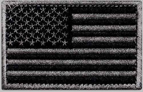 Ever Craft Morale American Flag Patch - Heavy Duty for Tactical Gear or USA Military Uniform - Premium Hook and Loop Tactical Patches for Backpacks Caps Hats Jackets Pants (Black & Gray)