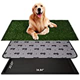 AZSSMUK Dog Grass Pad with Tray Dog Pee Potty Pad,Grass Large Dog Litter Box Toilet Artificial Grass Turf for Dogs,Pet Potty Training Pee Portable Potty Trainer Full System