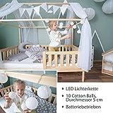Alcube Hausbett-Deko, mit Baldachin, Lichterkette und Wimpel in grau-weiß, Himmel aus 2 riesigen Stoffbahnen je 160x290cm geeignet als Dekoration für Hausbetten von 160 bis 200 cm - 5