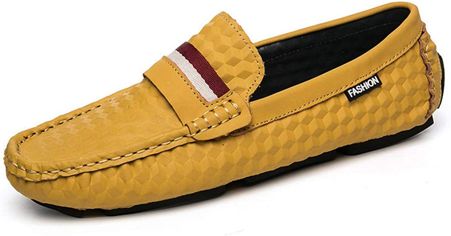 Men's Comfort Loafers Leather Spring Fall Comfort Loafers & Slip-Ons Lazy shoes Black Yellow Brown Khaki,C,40