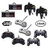 Vilros Retro Gaming Classic USB Controller Set- Includes: 2 NES Style USB Gamepads -2 SNES Style USB Gamepads-2 SEGA...