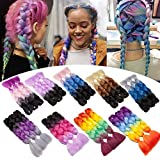 Jumbo Braiding Hair Pink 24 inch Jumbo Braid Hair Extensions Ombre Tree Tones Jumbo Box Braids Crochet Hair Long for Women Kids DIY High Temperature Black Wine Red Red 3 Bundles