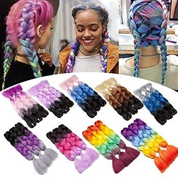 Jumbo Braiding Hair Ombre 24 inch Jumbo Braid Hair Extensions Rainbow Jumbo Box Braids Crochet Hair Long for Women Kids DIY High Temperature Synthetic Fiber 4 Tones Purple+Blue+Yellow+Orange 3 Bunldes