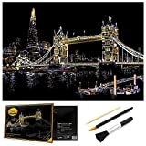 Scratch Art Rainbow Painting Paper, Sketch Pad DIY Night View Scratchboard for Kids & Adults, Engraving Art & Craft Set, Scratch Painting Creative Gift, 16'' x 11.2'' with 3 Tools (Tower Bridge)