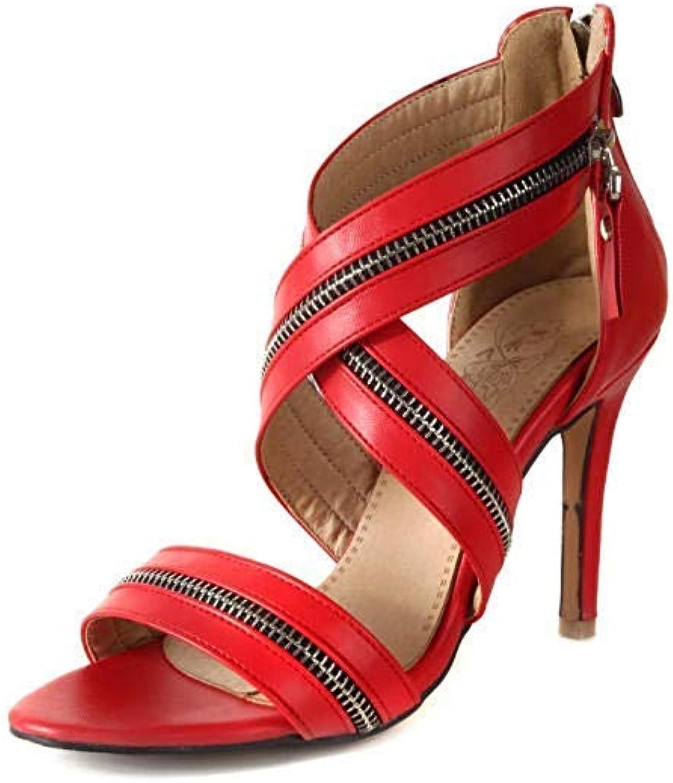 MDD@BB Pumps Europa und die Vereinigten Staaten Damen Pu Fashion 11.5Cm Wild Nightclub Sommer High-Heeled Zipper Hochzeitsschuhe Rot   41 EU