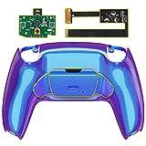 eXtremeRate RISE Remap Kit per Playstation 5 Joystick Scheda&Cover Posteriore&Tasti Posteriori per PS5 Controller,Back Buttons Attachment Compatibile con PS5 Controller-Camaleonte Viola Blu