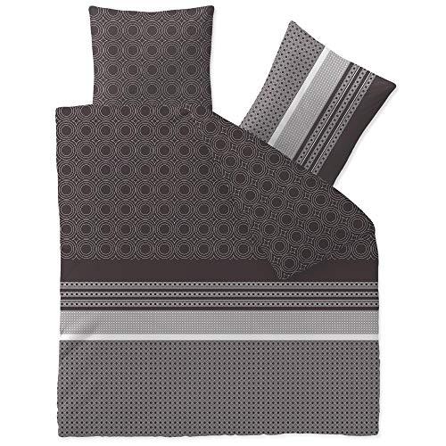 CelinaTex Touchme Biber Bettwäsche 200 x 200 cm 3teilig Baumwolle Bettbezug Laura schwarz beige anthrazit