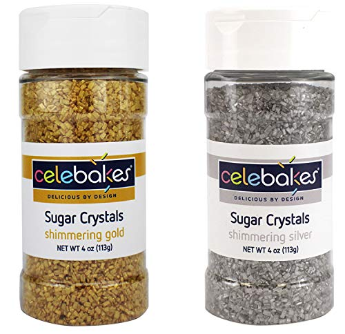 CK Celebakes Shimmering Gold and Silver Sugar Crystals - 4 Ounce Each Jar