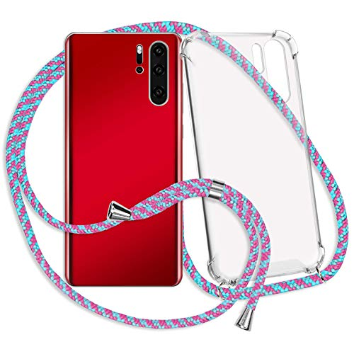 mtb more energy® Collar Smartphone para Honor 8X (6.5'') - Rosa + Menta - Funda Protectora ponible - Carcasa Anti Shock con Cuerda