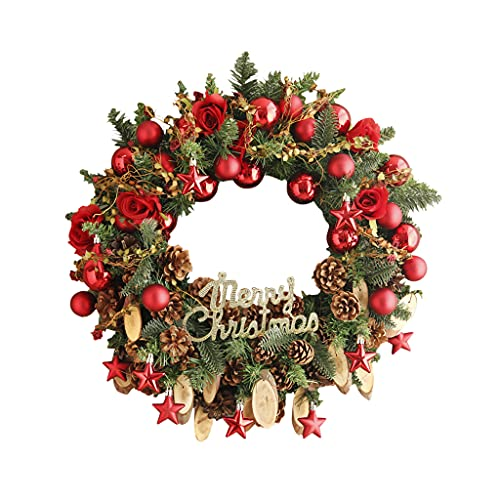 XIN CHANG LWH Guirnalda De Navidad, Coronas De La Puerta Guirnalda De Ratán Casa De Vacaciones Decoración De árboles De árbol Festivo Pantalla De Rosa Festiva con Conos De Pino 17.7 En