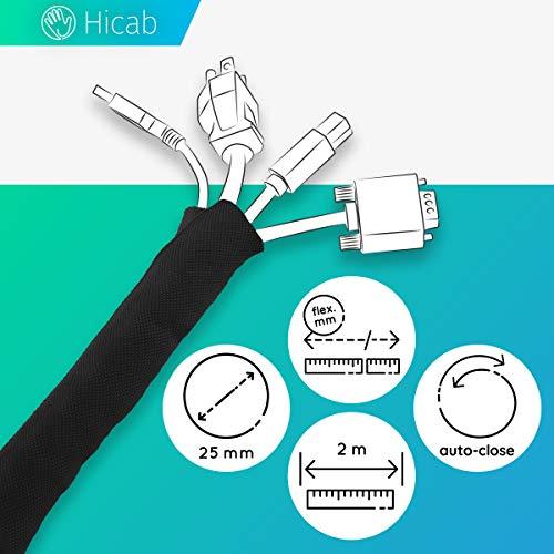 Tubo portacables de Hicab: recortable y con autocierre. Funda para cable de 2m de longitud, 25mm de anchura y color negro. Permite ocultar los cables del escritorio y del televisor.