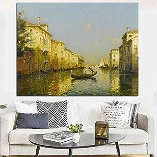 tzxdbh Cartel de Pintura sobre Lienzo en la Pared impresión Agua Ciudad Venecia Paisaje clásico Famoso Arte para Sala de Estar decoración del hogar