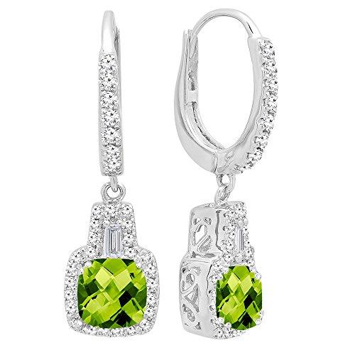 DazzlingRock Collection 14K de Oro de 5 MM Cada una de Las Piedras Preciosas de los Cojines y aretes cónicos y Redondos de Las Mujer de Diamantes Peridoto