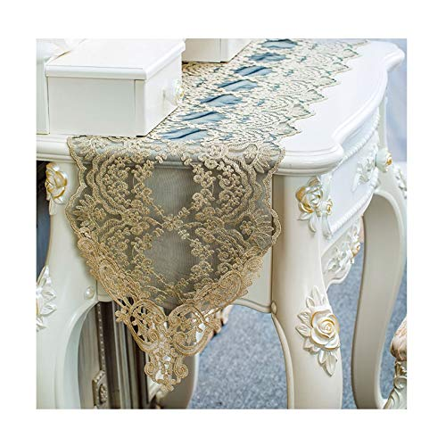 AueDsa Table Runners Modern 30x120CM,Polyester Table Runner Flower Pattern with Lace Black