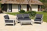 Backyard <span class='highlight'>Furniture</span> Belgrave Luxury Solid Hardwood Grey 4 Seat <span class='highlight'>Garden</span> Lounge Set with Cushions and Weatherproof <span class='highlight'>Furniture</span> Cover