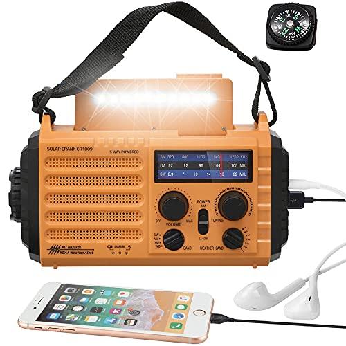 (2021 Newest)5000mAh Weather Radio,5-Way Powered Solar Hand Crank Emergency Radio,NOAA/AM/FM Shortwave Survival Portable Radio,Power Bank USB Charger,Flashlight/Reading Lamp,Headphone Jack,Compass,SOS