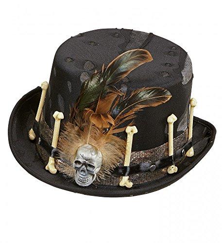 shoperama Schwarzer Voodoo Zylinder mit Knochen Federn und Totenkopf Gr. 58 Hut Halloween