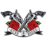 1piece Guns Roses Big Iron on Patches Sequin Girl Head Hat Heart Embroidered Appliques for DIY T-Shirt Jeans Jacket Backpack Badge Craft TH993 (995 Gun)