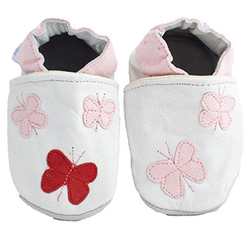 Chaussures Bébé Fille Cuir Souple Papillon - Blanc - blanc, 18-24 mois