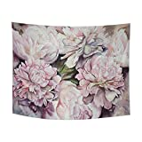 InterestPrint Watercolor Peonies Pink Flowers Painting Tapestry Wall Hanging Art Cotton Linen Tapestries for Living Room Bedroom Dorm Decor, 80' W by 60' L