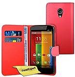 FoneExpert® Wallet Hülle Flip Cover Hüllen Etui Ledertasche Lederhülle Premium Schutzhülle für Motorola Moto G 2. Generation + Bildschirmschutzfolie (Rot)