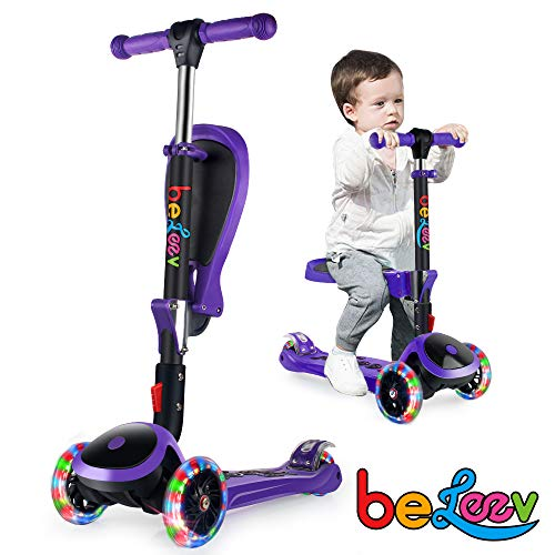 BELEEV Patinete de 3 Ruedas para Niños 3-14 Años con Asiento Plegable 2 in 1 Boys and Girls Scooter Altura Ajustable Patinete con Ruedas de PU Flash Light (Purple)