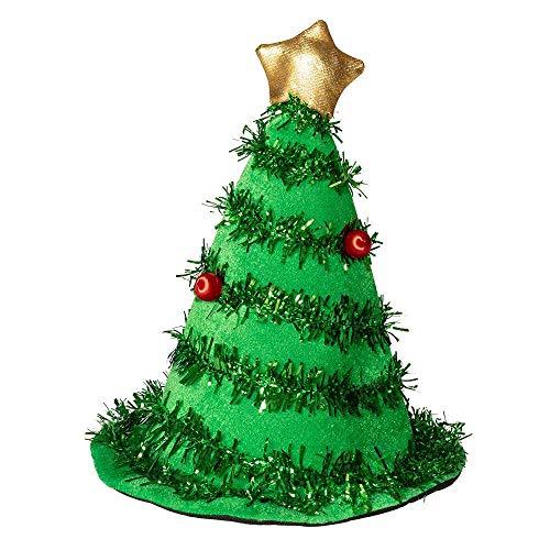 Boland 13406 - Chapeau de sapin de Noël pour homme et femme, chapeau de sapin de Noël, chapeau vert en feutre avec étoile dorée et guirlandes, décoration de Noël, carnaval, fête à thème, décoration