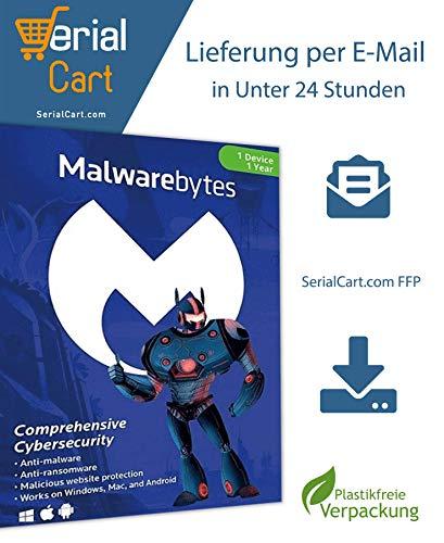Malwarebytes Premium 2020 | 1 Gerät / 1 Jahr | von SerialCart [Aktivierungscode per Post/Download]