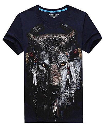 Angcoco Men's Short Sleeve Professional 3D Digital Print Slim Fit T Shirts
