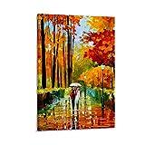 Póster de paisaje de árbol rojo otoñal para decoración de habitación, diseño de paisaje estético de 30 x 45 cm