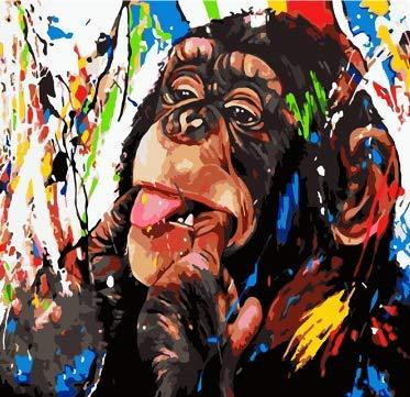 NOBRAND Pintar por numeros Adultos Colorido Animal Mono Estilo Abstracto acrílico Adulto Pintura al óleo decoración del hogar Obra de Arte Regalo sin Marco 40X50 WYLWULI