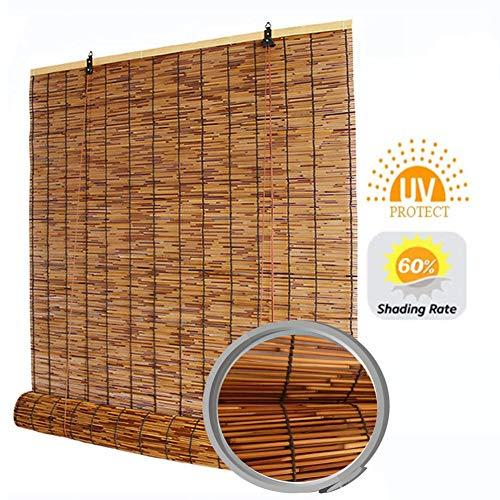 SHXF Schilfrollos für aussenbereich, Sichtschutz Bambus Rollo,wasserdicht,atmungsaktiv Raffrollo,für Gärten,Fenster,Terrassen