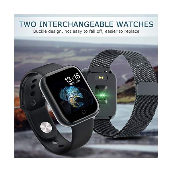 Smart Pulsera Fitness Tracker- Reloj Inteligente para Hombres Mujeres Bluetooth Rastreador de Actividad con Monitor de… 2