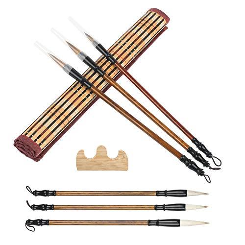 BELIOF 3 Pcs Chinesische Pinsel Traditionelle Kalligraphie Schreibpinsel in 3 Größen Zeichnungspinsel mit mit Pinselablage und mittelgroßem Pinseletui zum Schreiben Zeichnen