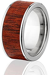 New Blood Wood Rings, Exotic Hard Wood Wedding Band w/ Comfort Fit
