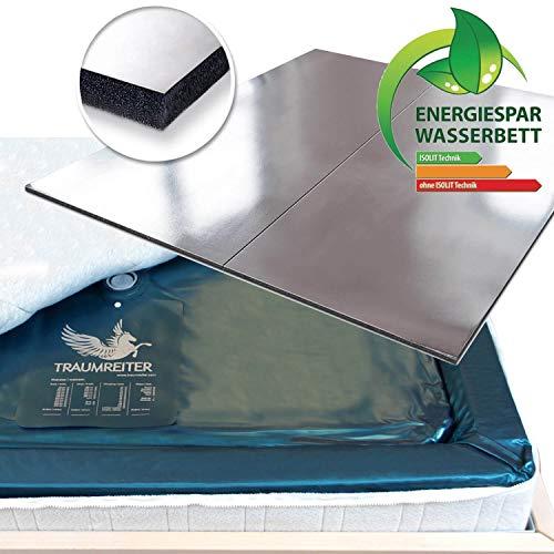Traumreiter 2 Stück 100x220 Wasserkern für 200x220 Softside Wasserbett-Matratze + ISOLIT Aluminium Stromsparmatte für Wasserbett Heizung ca. 15% Strom sparen