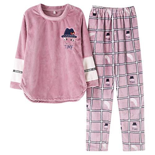 DFDLNL Conjuntos de Pijamas para Amantes, Ropa de Dormir de Invierno, Toalla de casa de Ocio, Pijama de Franela cálida para Hombres, Pijama para niñas, Conjunto de Ropa de Dormir para Mujeres XXXL